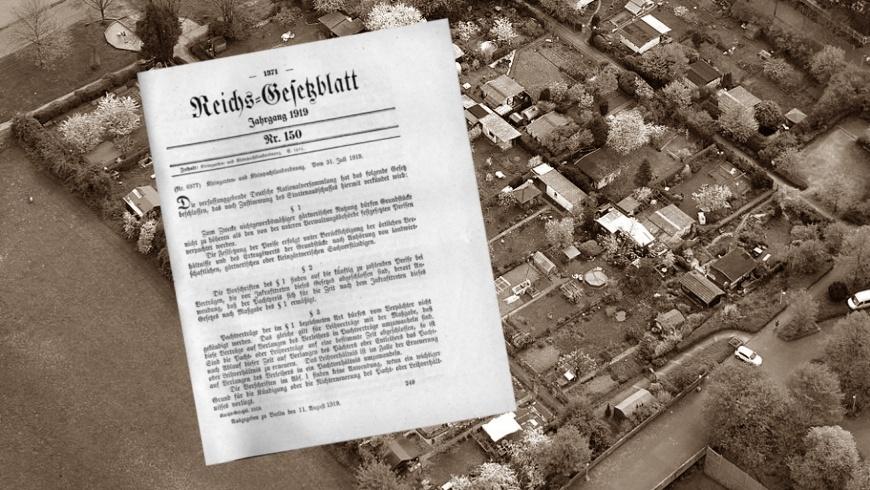 31.7.1919: 100 Jahre Kleingarten- und Pachtlandverordnung. Kleingartenanlage Karl-Legien-Straße in Bonn