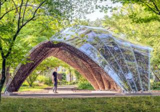 """Kooperation der Universitäten Freiburg und Stuttgart: Der """"livMats Pavillon"""" im Botanischen Garten der Universität Freiburg"""